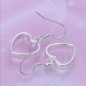 Heart silver thick earrings